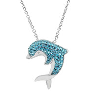 Sterling Silver Blue Crystal Dolphin Pendant-Necklace made with Swarovski Crystals 18in. Box Chain