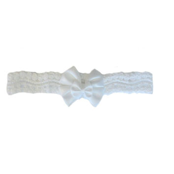 Baby Girls' Beautiful White Lace Headband with Double Bow