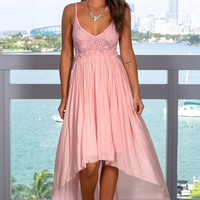 Pink High Low Dress with Frayed Hem