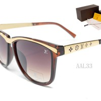 LV Mirrored Flat Lenses Street Fashion Metal Frame Women Sunglasses [2974244729]