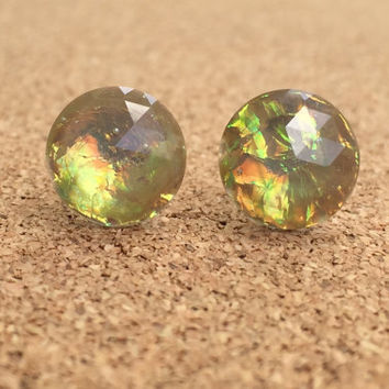 Earrings Greyish Tan Fire Opal Resin Boho Earrings 12MM Faceted Earrings