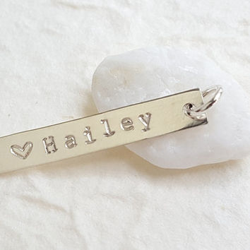 Hand Stamped Sterling Silver Bar Pendant - Personalized Name Initial Jewelry - DIY - Add a Pendant- Christina Guenther