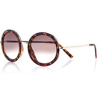 River Island Womens Brown tortoise shell round sunglasses
