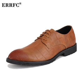 ERRFC Brown Casual Pointed Toe Dress Shoes
