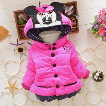 New 2016 girls winter Minnie coat children outwear & coats baby kids coat for children,,kids jackets,casual baby clothing