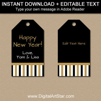New Years Eve Party Favor Tags, New Years Eve Tag, PRINTABLE 50th Anniversary Tags, 50th Birthday Party Favor Tag Instant Download Hang Tags