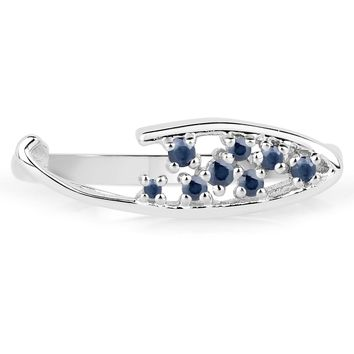 LoveHuang 0.16 Carats Genuine Blue Sapphire Ring Solid .925 Sterling Silver With Rhodium Plating