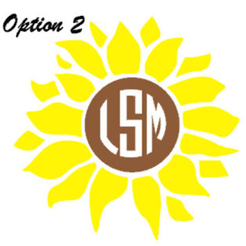Sunflower Monogram- Flower Decal - Girly - Yellow - Brown - Circle Font - Interlocking - Vine - Sticker - Outdoor Vinyl - Quality - Phone