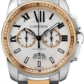Cartier - Calibre de Cartier Chronograph Stainless Steel and Pink Gold