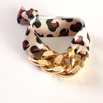 Gold Chain Leopard Print Arm Candy Hair Tie Curb Pony Jewelry Stretch Elastic Fold Over Embellished Gift Girls