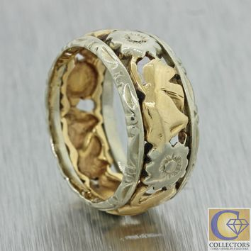 1940s Antique Art Deco 14k White Yellow Gold Filigree Flower Wedding Band Ring