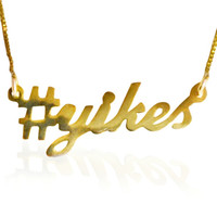 Maggie Lindemann's #yikes  Nameplate Necklace