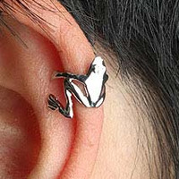 The Froggy Prince Hugging Ear Cuffs ( Silver, Adjustable, No Piercing)