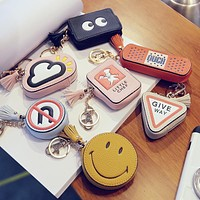 Mini Bag Cartoon Design smiley face round tassel pu leather casual portable bag ladies Purse Coin Bags