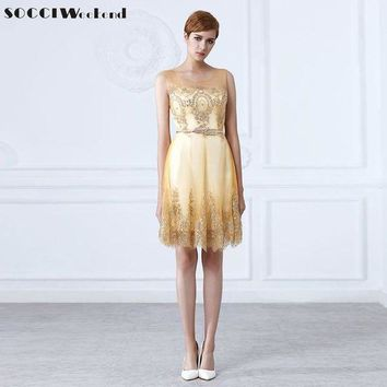 DCCKON3 socci weekend tulle lace gold cocktailDress short mother of the brideDresses formal prom gown wedding party vestidos de coctel