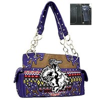 Aztec Print Western Rodeo Horse Sachel Purse w/ Concealed Weapon Gun Pocket (Purple Trim)