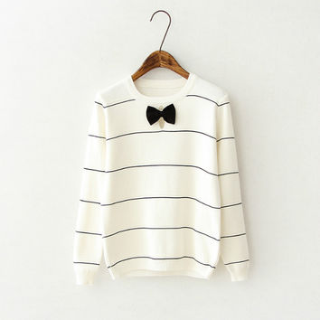 Striped Cutout Bow Sweater