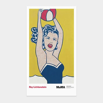 Lichtenstein: Girl with a Beach Ball Poster