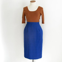 blue plaid pencil skirt - 70s vintage navy white windowpane check skirt - high waisted - knee length - xs small