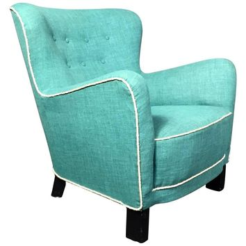 Late 1930s Danish Buttoned Armchair with Turquoise Upholstery