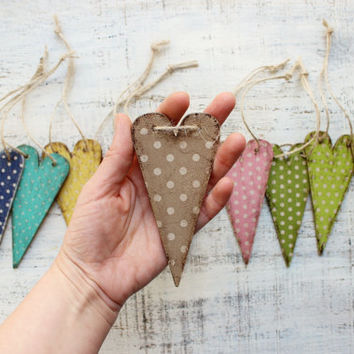 11 colors wooden boho heart ornaments bridal shower baby shower boho wedding favors white polka dot