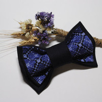 FREE SHIPPING Embroidered man's bow tie Blue navy pretied bowtie Wedding bow tie Groomsman bow tie Gift for him Dad's gift Boys bow ties