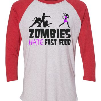 """Unisex Christmas Soft Tri-Blend Baseball T-Shirt """"Zombies Hate Fast Food"""" Rb Clothing Co"""