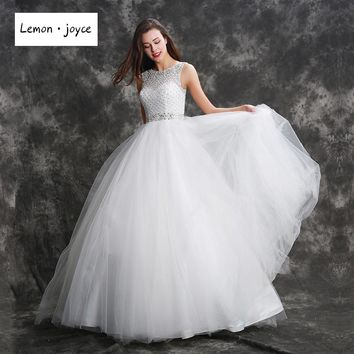Fantasy Wedding Dresses 2017 Crystal Beading Floor Length Ball Gowns for Bridal Gowns