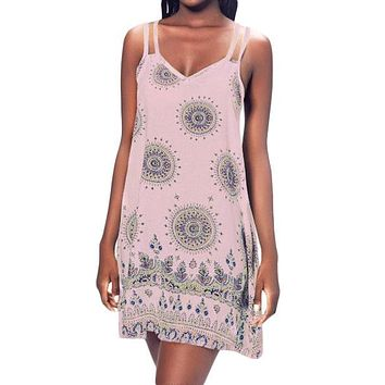 Pink Printed Criss Cross Back Mini Boho Dress