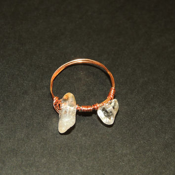 Citrine and Copper Wire Wrapped Ring Size 11