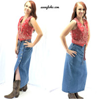 Vintage 80s denim maxi skirt M 1980s boho long jean skirt retro country western high waisted denim blue jean maxi skirt SunnyBohoVintage