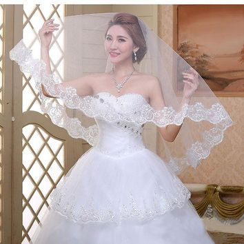 High Quality Real Photos Ivory Cathedral Lace Edge Wedding Accessories Bridal Veils veu de noiva 1.5meter long