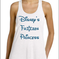 Disneys Frozen Princess Glittery  Flowy Tank Top Super Cute Super Sparkle with Snowflake Anna Elsa