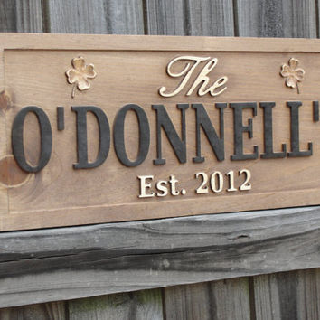 Personalized Sign CARVED Family Name Last by michaelswoodworks