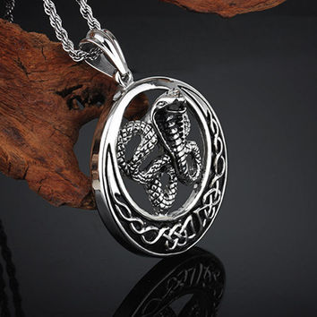 Gothic Snake Pendant 316L Stainless Steel Mens Necklace with Chain
