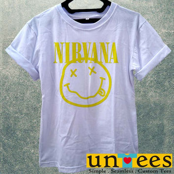 Low Price Women's Adult T-Shirt - NIRVANA SMILEY ROCK BAND FACE COOL MUSIC PUNK KURT COBAIN design