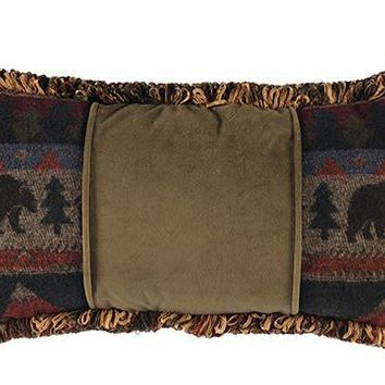 Cabin Bear Accent Pillow with Fringe