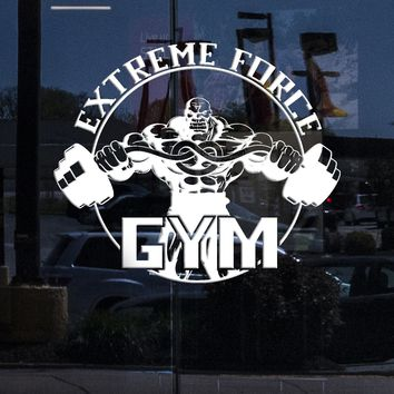 Window Sign and Window Wall Sticker Vinyl Decal Gym Extreme Force Bodybuilding Fitness Sport Unique Gift (ig2190w)