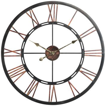 Mallory Clock Aged Copper Finish with Black Highlights