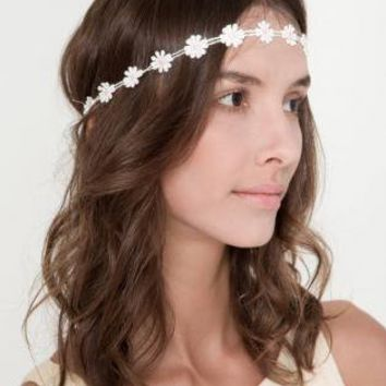 White Flower Design Elastic Head Band