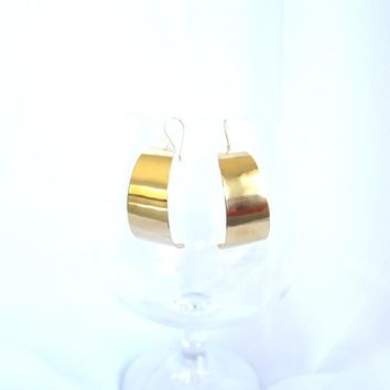 Gold J hoop earrings, hand crafted medium hoop earrings, everyday gold earrings