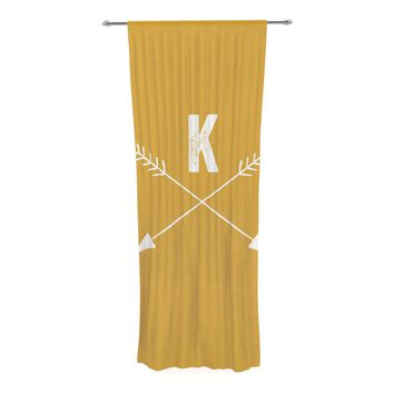 "KESS Original ""Golden Arrow Monogram"" Decorative Sheer Curtain"