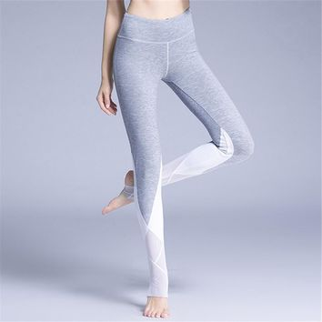 Vintage Bloom Printed High Waist Mesh Ballet Yoga Pants Grey Skinny Stirrup Active Gym