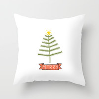 christmas tree with merry banner Throw Pillow by Stacey Walker Oldham