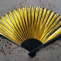 Vintage Gold Metallic Paper Hand Fan