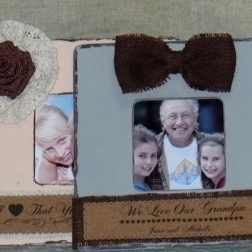 Grandparents Gift Personalized Frame Set of 2 Rustic Frame Shabby Chic Frame Burlap Flower Personalized Christmas Gift from Grandchildren