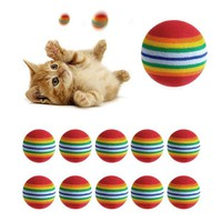 DCCKO03T 10Pcs Colorful Cat Toy Ball Interactive Cat Toys Play Chewing Rattle Scratch Natural Foam Ball Training Pet Supplies
