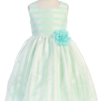 Mint & Ivory Striped Girls Easter Dress w. Contrast Lining 2-12