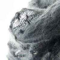 Knitted lace cowl, silk and mohair lace cowl, knitted snood, mohair lace wrap in grey 'Snowflakes'