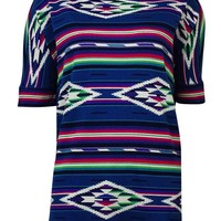 American Living Women's Tribal Print Waffle Knit Top